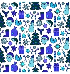 Christmas Blue Patch Seamless Pattern vector