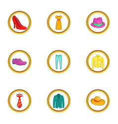 Classic clothes icon set cartoon style vector