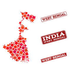 Collage of red mosaic map of west bengal state and vector