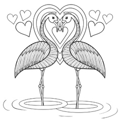 coloring page with flamingo in love entangle vector image