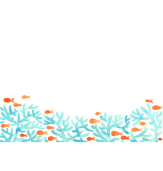 Coral reef and fish in sea watercolor frame vector