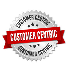 Customer centric round isolated silver badge vector