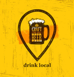 Drink local craft beer creative banner concept on vector