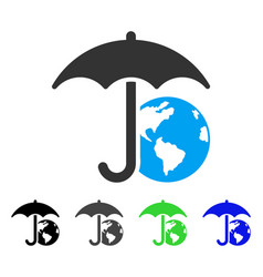 Earth umbrella flat icon vector
