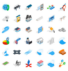 Electricity operator icons set isometric style vector