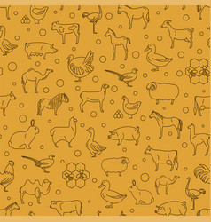 Farm animal thin line collection seamless patten vector