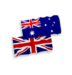 Flags of australia and great britain on a white vector