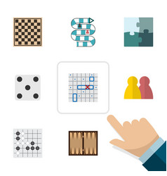 Flat icon games set of dice multiplayer chess vector