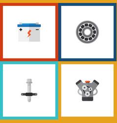 Flat icon service set of muffler brake disk vector