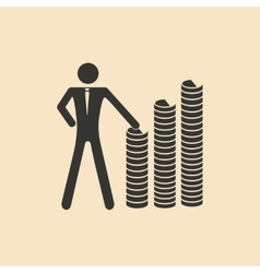 Flat in black and white people at stacks coins vector