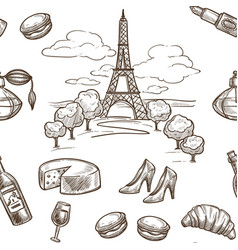 france sketch pattern background seamless vector image