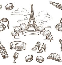 france sketch pattern background seamless vector image
