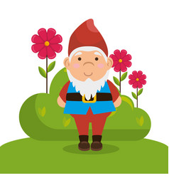 Garden elf decorative icon vector
