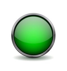 Green glass button shiny 3d icon with metal frame vector