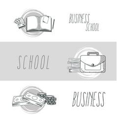 hand draw business school vector image