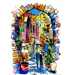 Hand drawn old street watercolor sketch vector