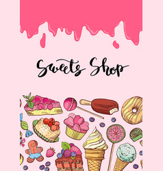 hand drawn sweets banner vector image