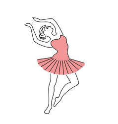 happy ballerina in pink dress vector image