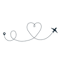 heart airplane dotted path travel heart line vector image
