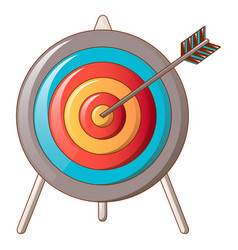 Hit the target icon cartoon style vector