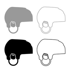 hockey helmet icon set grey black color vector image