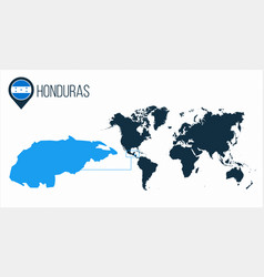 honduras map located on a world map with flag vector image