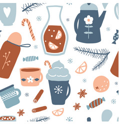 hot drinks seamless pattern vector image
