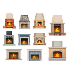 House fireplace hearth with firewood flames vector