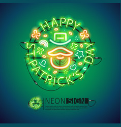 Irish st patricks day neon sign vector