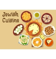 Jewish cuisine dinner menu with dessert icon vector image