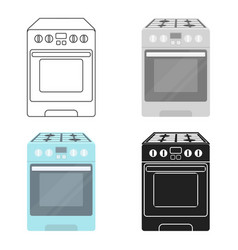 kitchen stove icon in cartoon style isolated on vector image