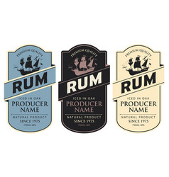 Labels for rum with sailing ship and inscriptions vector