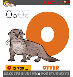 Letter o from alphabet with otter animal character vector