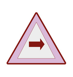 line color triangle warning notices with turn vector image