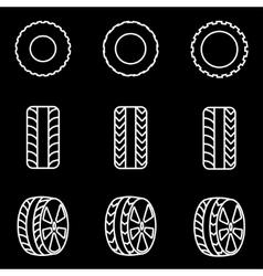 Line tire icon set vector
