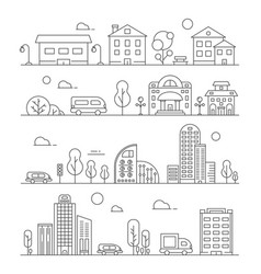 Line urban landscapes set various city vector