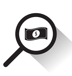 Magnifying glass with dollar notes icon vector