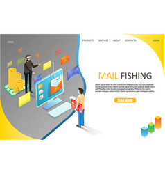Mail phishing landing page website template vector