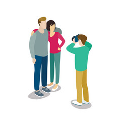 man takes pictures of young couple vector image