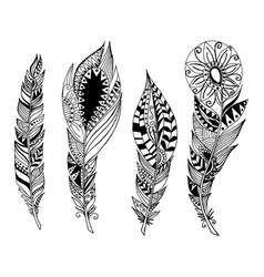 mandala style feathers set collection creative vector image
