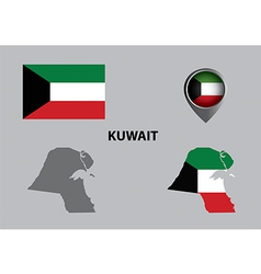 Map of Kuwait and symbol vector