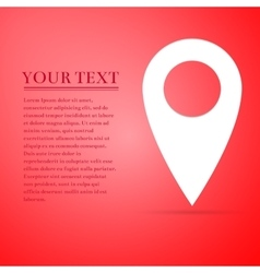 Map pin flat icon on red background Adobe vector