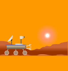 Martian landscape with space rover vector
