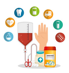 medical healthcare with set icons vector image