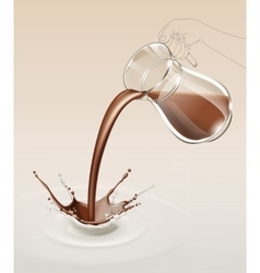 Milk Chocolate Splash Stream Flow from Glass Jug vector