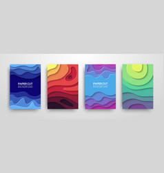 modern paper cut 3d geometric covers set vector image
