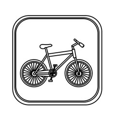 monochrome rounded square with bicycle vector image