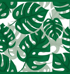 Monstera seamless beckground tiled jungle pattern vector