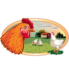 Oval frame with chickens vector