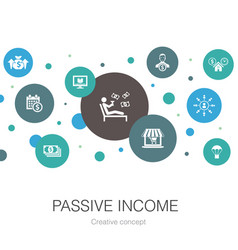 Passive income trendy circle template with simple vector